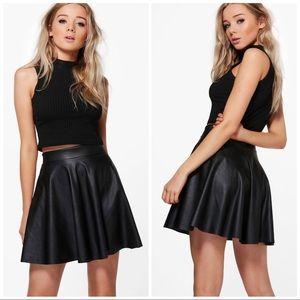 NWT H&M Vegan Leather Black Skater Skirt